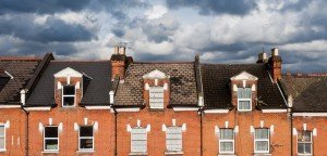 View over London roofs on terraced properties