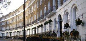 Detail of London terraced buildings