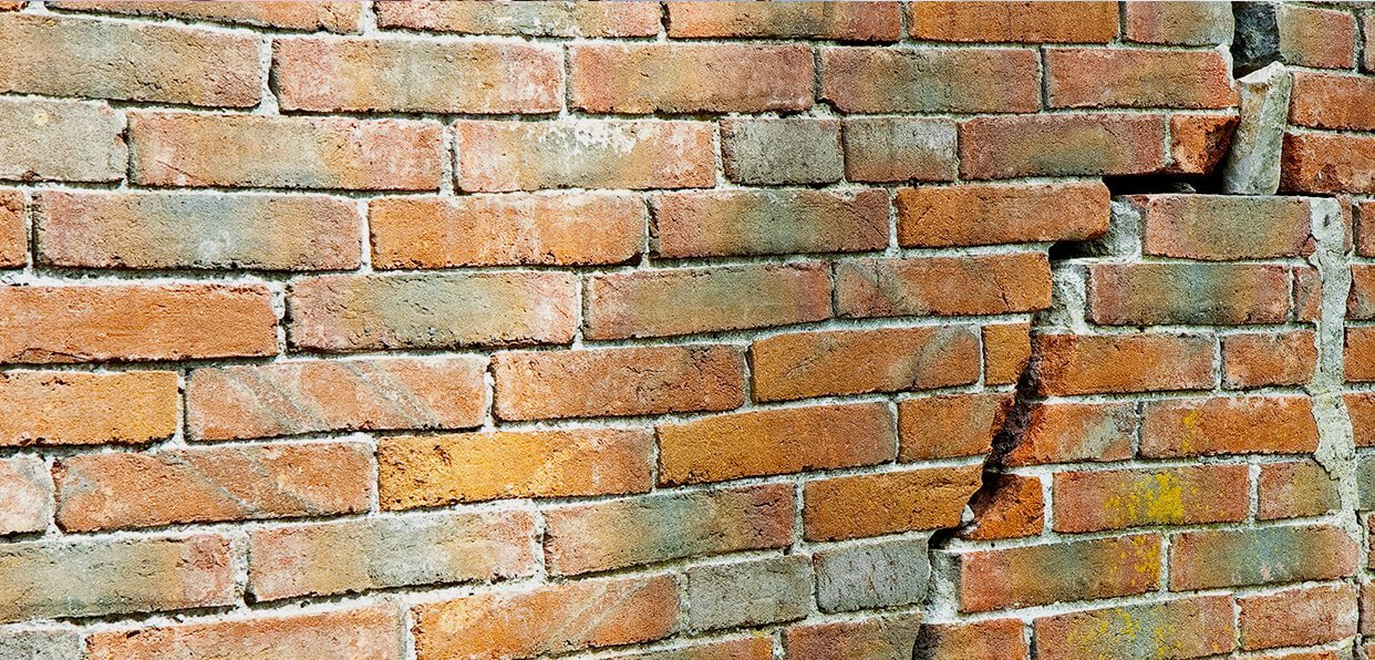 Cracks in bricks commonly found in property and house surveys